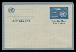 U.N.N.Y. Scott # UC  1, 1952 10c Swallows & U.N. Emblem, blue - Mint Air Letter Sheet, Folded