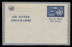 U.N.N.Y. Scott # UC  2, 1954 10c Swallows & U.N. Emblem, dark blue - Mint Air Letter Sheet, Folded