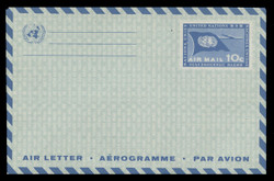 U.N.N.Y. Scott # UC  4, 1960 10c U.N. Flag & Plane - Mint Air Letter Sheet, Folded