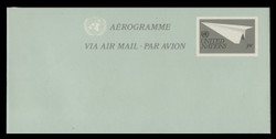U.N.N.Y. Scott # UC 14, 1982 30c Paper Airplane - Mint Air Letter Sheet, Folded