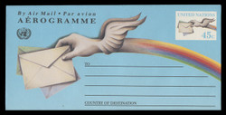 U.N.N.Y. Scott # UC 18, 1992 45c Letter & Winged hand - Mint Air Letter Sheet, Folded