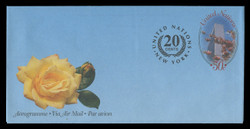 U.N.N.Y. Scott # UC 22, 2001 50c +20c Cherry Blossoms - Mint Air Letter Sheet, Folded