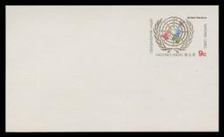 U.N.N.Y Scott # UX  7, 1977 9c U.N. Emblem - Mint Postal Card