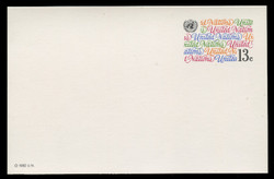 U.N.N.Y Scott # UX  8, 1982 13c United Nations in Script - Mint Postal Card