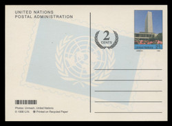 U.N.N.Y Scott # UX 23, 2002 21c +2c Secretariat Building - Mint Picture Postal Card