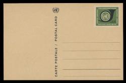 U.N.GEN Scott # UX  1, 1969 20c U.N. Emblem & Post Horn - Mint Postal Card