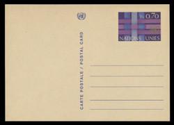 U.N.GEN Scott # UX  4, 1977 70c U.N. Emblem & Ribbons - Mint Postal Card