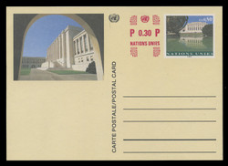 U.N.GEN Scott # UX 12, 1996 80c +30c Palais des Nations (UX10) - Mint Postal Card