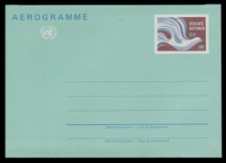 U.N.VIEN Scott # UC  1, 1982 9s Peace Dove - Mint Air Letter Sheet, Folded