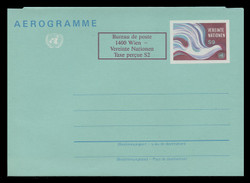 U.N.VIEN Scott # UC  2, 1986 9s +2c Peace Dove (UC1) - Mint Air Letter Sheet, Folded