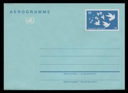 U.N.VIEN Scott # UC  3, 1987 11s U.N. Emblem & Birds  - Mint Air Letter Sheet, Folded