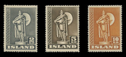 ICELAND Scott #  229-31, 1939-45 Statue of Thorfinn Karlsefni (Set of 3)