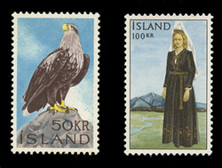 ICELAND Scott #  378-9, 1965-6 White-tailed Eagle & National Costume (Set of 2)