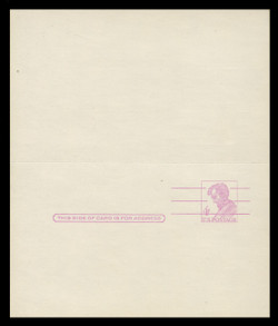 "U.S. Scott # UY 18a, 1967 4c Abraham Lincoln, Precancelled, ""Tagged"" with Luminescent Ink - Mint Message-Reply Card - UNFOLDED"