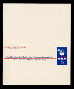 U.S. Scott # UY 19, 1963 7c Map of the United States - Mint International Message-Reply Card - UNFOLDED