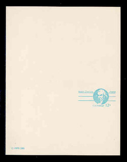 """U.S. Scott # UY 32a/UPSS #MR42b, 1981 12c Isaiah Thomas - Patriot Series - Mint Message-Reply Card, SMALL """"12"""", SMOOTH PAPER - UNFOLDED"""