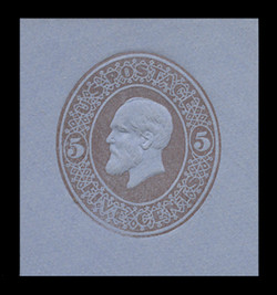 U.S. Scott # U 225, 1882 5c Garfield, brown on blue - Mint Cut Square