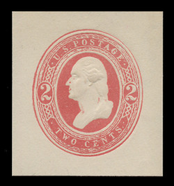 "U.S. Scott # U 240, 1884 2c Washington, 3 1/2 links over left ""2"", red on white - Mint Cut Square"