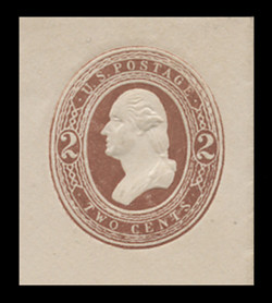 "U.S. Scott # U 273, 1884 2c Washington, Round ""O"" in ""Two"", brown on white - Mint Cut Square"