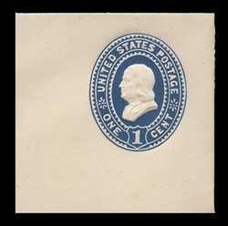 U.S. Scott # U 295, 1894 1c Franklin, dark blue on white - Mint Full Corner
