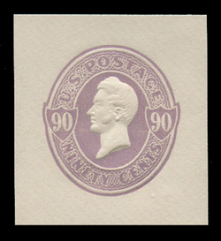 U.S. Scott # U 342, 1887 90c Perry, purple on white - Mint Cut Square