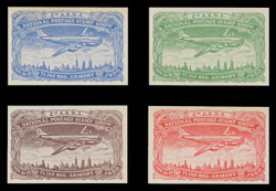 ASDA 1950PRi (2nd) Stamp Show, Plane Over New York,  Imperforate (Set of 4) POSSIBLY PROOFS? (See Warranty)