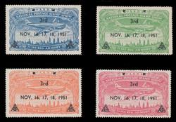 ASDA 1951BK (3rd) Stamp Show, Plane Over New York,  Black Overprint, Perforated (Set of 4)