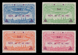 ASDA 1951MAG (3rd) Stamp Show, Plane Over New York,  Magenta Overprint, Perforated (Set of 4)