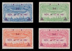 ASDA 1951MAG (3rd) Stamp Show, Plane Over New York,  Magenta Overprint, Perforated (Set of 4)