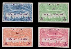 ASDA 1951MAGi (3rd) Stamp Show, Plane Over New York,  Magenta Overprint, Imperforate (Set of 4)