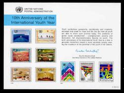 U.N. Souvenir Card # 48 - 10th Anniversary, Int'l Youth Year