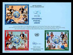 U.N. Souvenir Card # 54 - 125 Years, Universal Postal Union