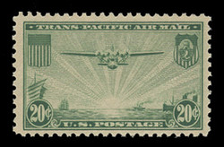 "U.S. Scott # C  21x, 1937 25c ""China Clipper"" over Pacific, dark green (See Warranty)"