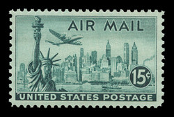 U.S. Scott # C  35b, 1947 15c Statue of Liberty, bright blue green - Dry Printing