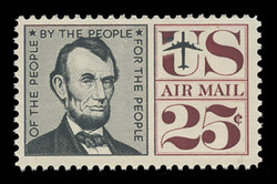 U.S. Scott # C  59a, 1960 25c Abraham Lincoln, black & maroon - Tagged