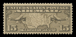 U.S. Scott # C   8, 1926-7 15c Map of U.S. & Planes, olive brown