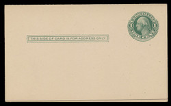 U.S. Scott # UY  6, 1911 1c Washington (Green) Double Frame Line - Mint Message-Reply Card - FOLDED