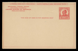 U.S. Scott # UY 12-Red/Carmine on Buff, 1926 3c McKinley - Mint Message-Reply Card - FOLDED