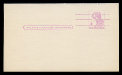 """U.S. Scott # UY 18a, 1967 4c Abraham Lincoln, Precancelled, """"Tagged"""" with Luminescent Ink - Mint Message-Reply Card - FOLDED"""