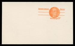 U.S. Scott # UY 24aFH/UPSS MR34bFH, 1973 6c Samuel Adams - Patriot Series - Mint Message-Reply Card, COARSE, FLUORESCENT (High Bright) PAPER - FOLDED