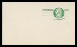 U.S. Scott # UY 25/UPSS #MR35a, 1975 7c Charles Thomson - Patriot Series - Mint Message-Reply Card - FOLDED