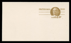 U.S. Scott # UY 26, 1975 9c John Witherspoon - Patriot Series - Mint Message-Reply Card, SMOOTH PAPER - FOLDED