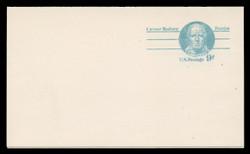 U.S. Scott # UY 27, 1976 9c Caesar Rodney - Patriot Series - Mint Message-Reply Card, SMOOTH, DULL PAPER - FOLDED