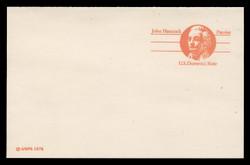 U.S. Scott # UY 29, 1978 (10c) John Hancock - Patriot Series (Non-Denominated) - Mint Message-Reply Card - FOLDED