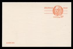 U.S. Scott # UY 30, 1978 10c John Hancock - Patriot Series - Mint Message-Reply Card, SMOOTH PAPER - FOLDED