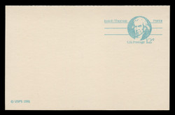 "U.S. Scott # UY 32/UPSS #MR42a, 1981 12c Isaiah Thomas - Patriot Series - Mint Message-Reply Card, LARGE ""12"" - FOLDED"