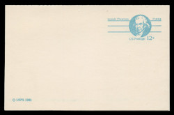 """U.S. Scott # UY 32a/UPSS #MR42b, 1981 12c Isaiah Thomas - Patriot Series - Mint Message-Reply Card, SMALL """"12"""", SMOOTH PAPER - FOLDED"""