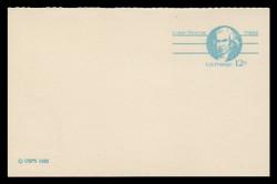 "U.S. Scott # UY 32aC/UPSS #MR42b, 1981 12c Isaiah Thomas - Patriot Series - Mint Message-Reply Card, SMALL ""12"", COARSE PAPER - FOLDED"