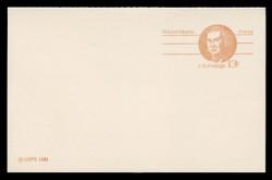 U.S. Scott # UY 34, 1981 13c Robert Morris - Patriot Series - Mint Message-Reply Card - FOLDED