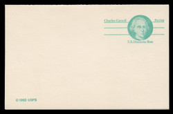 U.S. Scott # UY 35, 1985 (14c) Charles Carroll - Patriot Series (Non-Denominated) - Mint Message-Reply Card - FOLDED